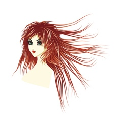 Girl with long red hair vector
