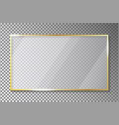 Glass plate in golden frame on transparent vector