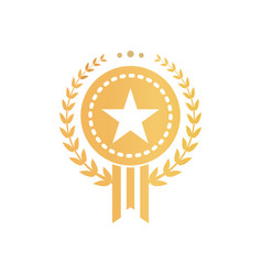 Gold certificate sign with star and laurel wreath vector