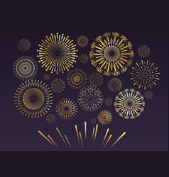 gold firework celebration fire show in night sky vector image