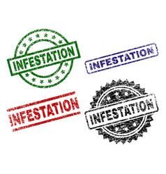 Grunge textured infestation seal stamps vector