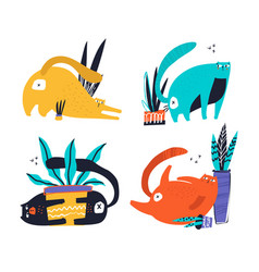 Guilty cats flat hand drawn characters vector