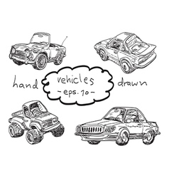 Hand drawn cars doodles vector