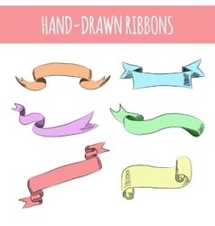 hand drawn colorful ribbons vector image