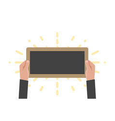 hand holding sign board chalkboard vector image
