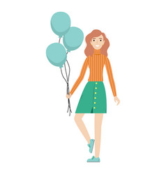 Happy redhead girl with balloons in her hands vector