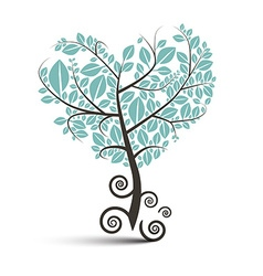 Heart Shaped Tree with Curled Roots Isolated vector image