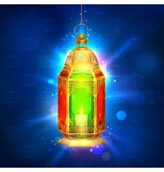 Illuminated lamp on Ramadan Kareem Generous vector