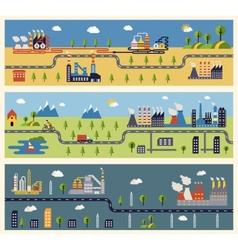 Industrial factories banners vector