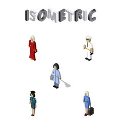 Isometric people set of seaman housemaid female vector
