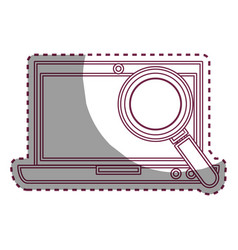Laptop computer with magnifying glass isolated vector