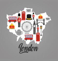 London map with uk landmark symbol inside vector