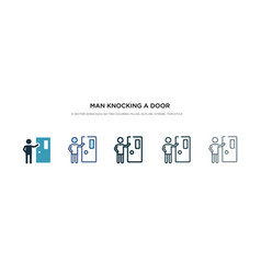 Man knocking a door icon in different style two vector