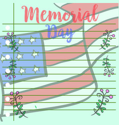 Memorial day greeting card style vector