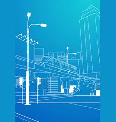 modern cityscape railway bridge over blue vector image