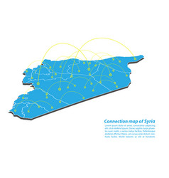 Modern of syria map connections network design vector