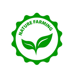 Natural farming round green logo green leafes vector