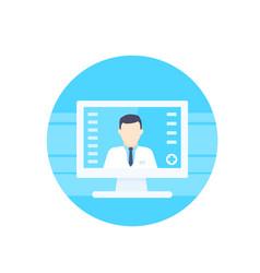 Online medical diagnosis icon vector