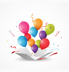 open box with balloon and confetti vector image