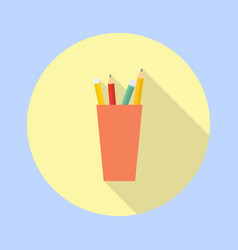pencil and pen in a glass in the office vector image