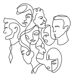 people different faces line people different vector image