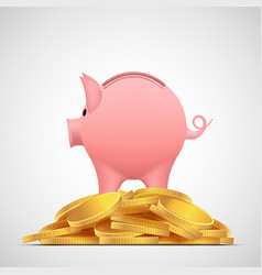 piggy bank pig on the heap gold coins vector image