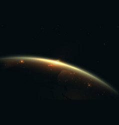 planet earth in space with glitter light gold vector image
