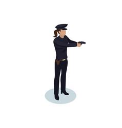 policewoman with gun color vector image