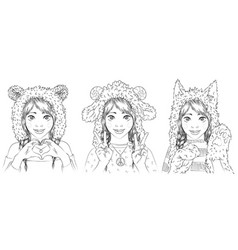 portraits of cute young women in animal hats girl vector image