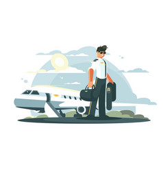 profession pilot of aircraft vector image