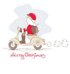 Santa on a scooter vector