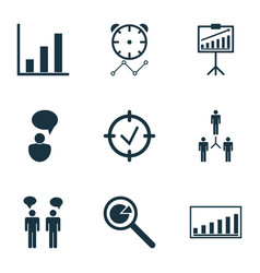 Set 9 administration icons includes bar chart vector