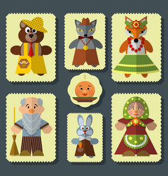 Set bun russian folk fairy tale vector