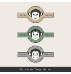 Set label with monkey 2 vector image