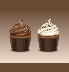set of cupcake with white brown chocolate vector image