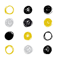 Set of drawn ink stain abstract circle vector