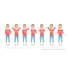 set of emotions and gestures to the young woman vector image