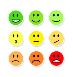 Set of smileys mood color on white stock vector