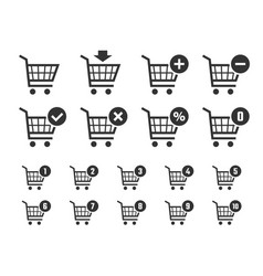 shopping cart icon set trolley signs for internet vector image