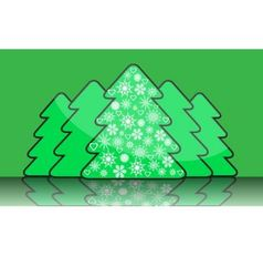 Simple christmas tree with decorations of snowflak vector image