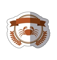 Sticker circular border with crown branch with vector