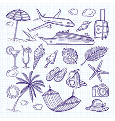 summer hand drawn elements sun umbrella vector image