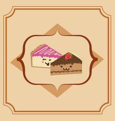 sweet cake slice cartoon vector image