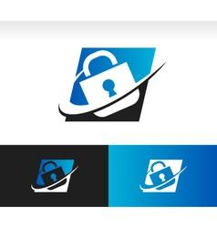 Swoosh security lock icon vector