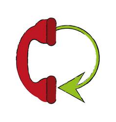 telephone circule draw vector image