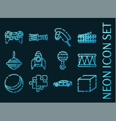 toys set icons blue glowing neon style vector image