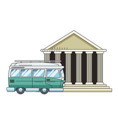 Travel van and pantheon icon vector