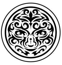 Tribal face circular emblem vector