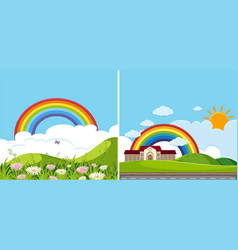 two background scenes with rainbow vector image