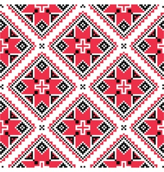Ukrainian traditional folk knitted red embroidery vector